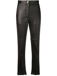 Fendi Ff Logo Leather Pants Black