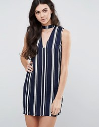 Love And Other Things V Neck Striped Shift Dress Navy Blue