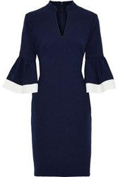 Mikael Aghal Woman Fluted Stretch Crepe Dress Navy