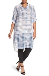 Vince Camuto Plus Size Women's Two By 'Breezy Textures' Collared Long Sleeve Tunic
