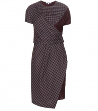 Carven Lace Trimmed Check Dress Grey