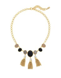 Cole Haan 10K Gold Plated Multi Stone Fringe Necklace