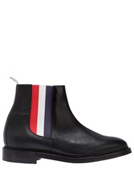 Thom Browne Pebbled Leather Striped Chelsea Boots Black