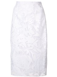 Milly Floral Embroidery Skirt Women Cotton Polyester 6 White