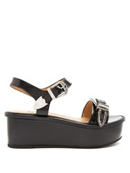 Toga Buckle Leather Flatform Sandals Black