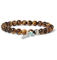 Peyote Bird Tiger's Eye Sterling Silver And Turquoise Bracelet Brown