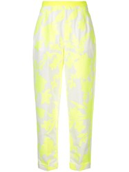 Delpozo Floral Print Tapered Trousers Yellow