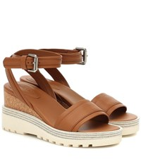 See By Chloe Robin Leather Wedge Sandals Brown