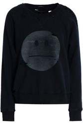Mother Distressed Printed Cotton Terry Sweatshirt Black