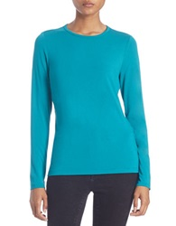 Lord And Taylor Plus Iconic Crewneck Sweater Turquoise