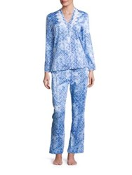 Oscar De La Renta Printed Cotton Sateen Pajama Set Blue Print