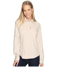 Columbia Silver Ridge L S Shirt Fossil Women's Long Sleeve Button Up Beige
