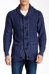 Weatherproof Cable Shawl Cardigan Blue