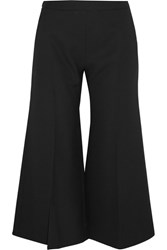 Acne Studios Isa Cropped Wool Twill Flared Pants Black