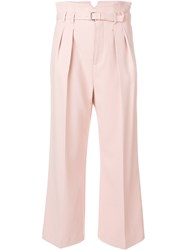 Red Valentino Buckled Cropped Trousers Pink And Purple