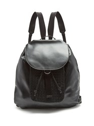 Bottega Veneta Intrecciato Panel Leather Backpack Black