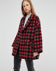 Ganni Double Breasted Coat In Red Check Pompeian Red Check Multi