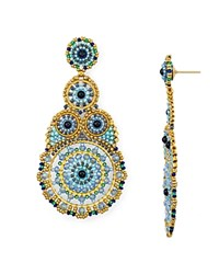 Miguel Ases Statement Circle Drop Earrings Multi