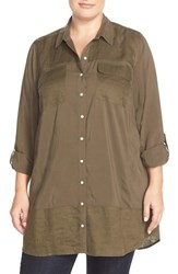 Plus Size Women's Caslon Mixed Media Roll Sleeve Tunic Olive Tarmac