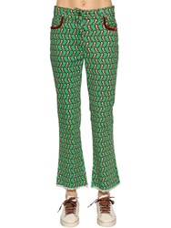 Etro Printed Cotton Denim Cropped Jeans Green