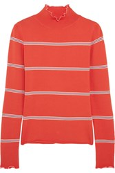 Topshop Unique Margot Striped Stretch Knit Turtleneck Top Red