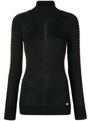 Versace Collection Turtle Neck Studded Sweater Black
