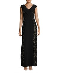 Decode 1.8 Lace Trim Sleeveless A Line Gown Black Nude