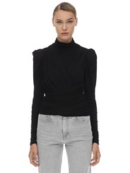 Isabel Marant Jalford Draped Stretch Jersey Top Black