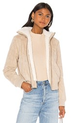 Cupcakes And Cashmere Kendal Reversible Faux Suede With Sherpa Flight Jacket In Tan. Cafe Au Lait