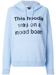 House Of Holland Mood Board Print Hoodie Cotton Blue