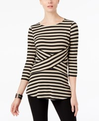 Eci Striped Bell Sleeve Top Black Taupe