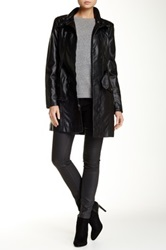 Kenneth Cole Faux Leather Coat Black
