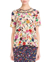 Kenzo Medium Tanami Flower Silk Top White