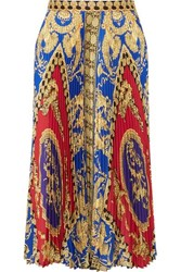 Versace Pleated Printed Satin Midi Skirt Red