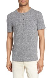 John Varvatos Men's Star Usa Melange Knit Henley Elephant Grey
