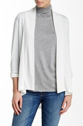 Hip Hacci Ruched Sleeve Cozy Cardigan White