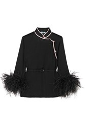 Prada Feather Trimmed Silk Crepon Top Black
