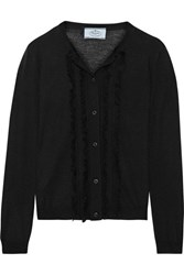 Prada Ruffled Wool And Silk Blend Cardigan Black