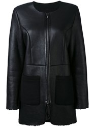 Liska Buttoned Jacket Women Lamb Nubuck Leather S Black