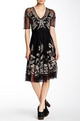 Biya Embroidered Lace And Silk Dress Black