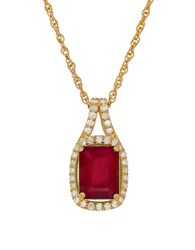 Lord And Taylor Diamond Ruby 14K Yellow Gold Pendant Necklace