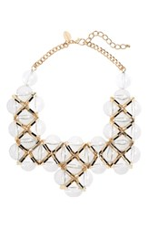 Natasha Bib Necklace Gold Clear