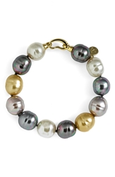 Majorica 14Mm Baroque Pearl Single Row Bracelet Champagne Multi Gold