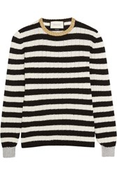 Gucci Metallic Trimmed Striped Cashmere And Wool Blend Sweater White