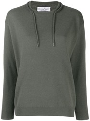 Brunello Cucinelli Draw String Neck Jumper Green