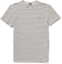 Steven Alan Striped Cotton Jersey T Shirt Blue