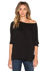 Michael Stars 3 4 Sleeve Wide Neck Dolman Tee Black