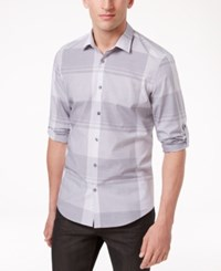 Alfani Men's Chambray Plaid Cotton Shirt Only At Macy's Smooth Silver