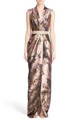 Badgley Mischka Couture. Women's Couture Embellished Waist Sleeveless Floral V Neck Gown Rose Gold Multi