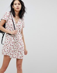 Honey Punch Wrap Dress In All Over Ditsy Rose Print White